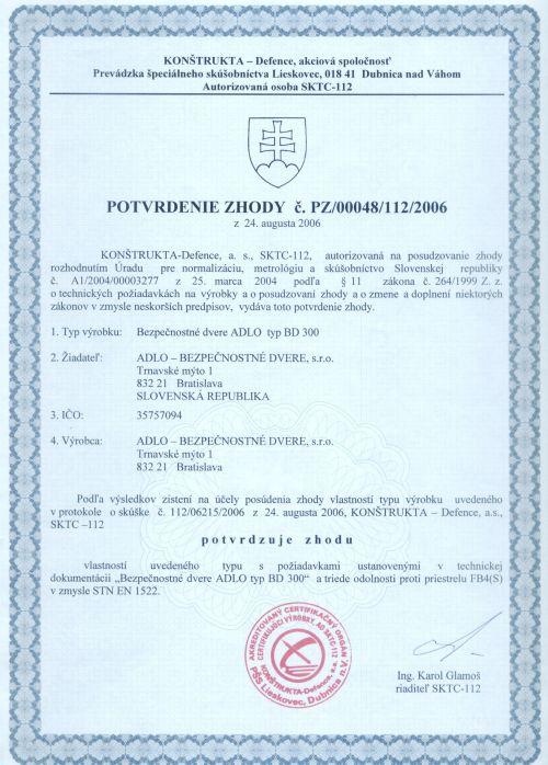 dd51513cf5 Certifikát Nepriestrelnosti v triede FB4 pre ADLO bezpečnostné dvere W-MAX